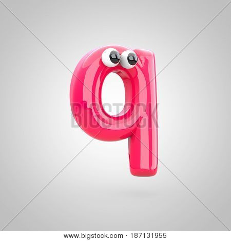 Funny Pink Letter Q Lowercase With Eyes
