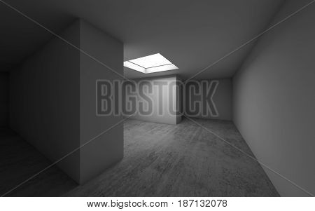 Empty Room Interior With Ceiling Light, 3D Render