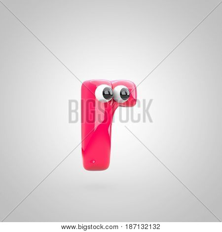Funny Pink Letter R Lowercase With Eyes