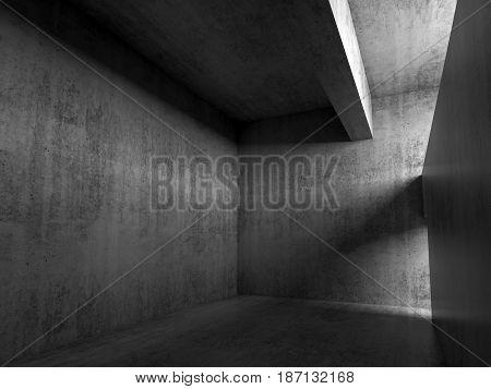 Abstract Empty Dark Concrete Room Interior 3D
