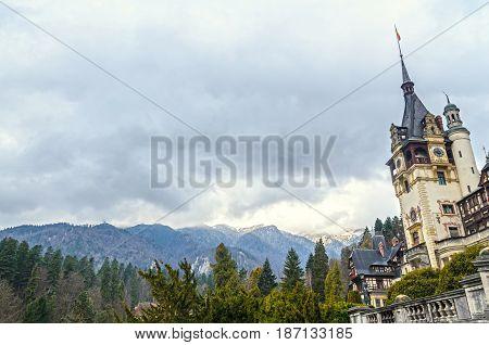 Romania, Sinaia - April 4, 2017: The Peles Castle From Sinaia Romania, Carpathian Mountains