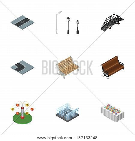 Isometric City Set Of Path, Street Lanterns, Sitting And Other Vector Objects. Also Includes Way, Lanterns, Fountain Elements.