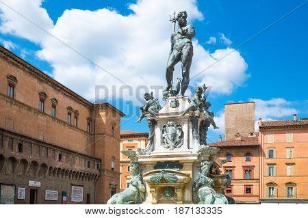 Italy Bologna Del Nettuno square frontal view of the Neptune fountain