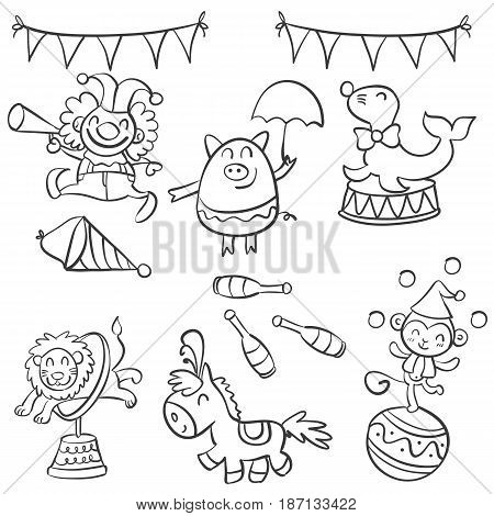 Element object circus design doodle style vector art