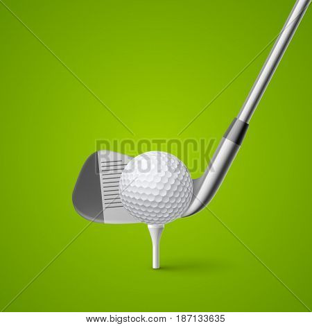 Golf Club and Ball for Design Template on Green Background