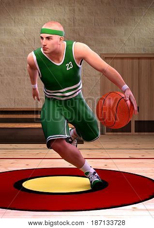 3D rendering of a basketball player in a school gym indoor