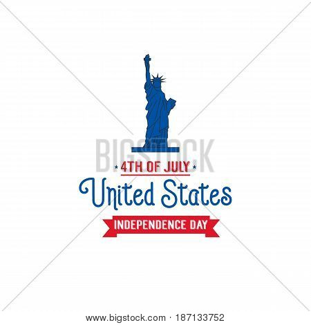 Fourth of July, USA Independence Day. Card with Statue of Liberty and typography.