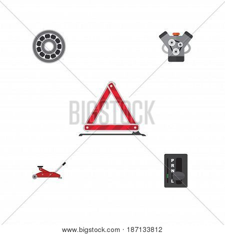 Flat Service Set Of Lifting, Warning, Brake Disk And Other Vector Objects. Also Includes Stop, Emergency, Automatic Elements.