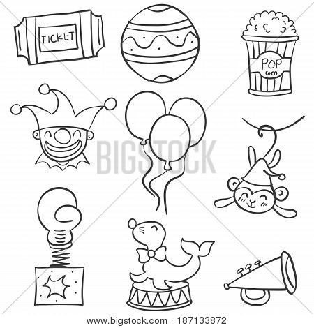 Collection stock of various object circus doodles vector art