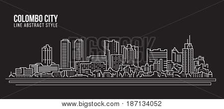 Cityscape Building Line art Vector Illustration design - colombo city