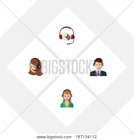 Flat Hotline Set Of Secretary, Hotline, Service And Other Vector Objects. Also Includes Call, Service, Center Elements.
