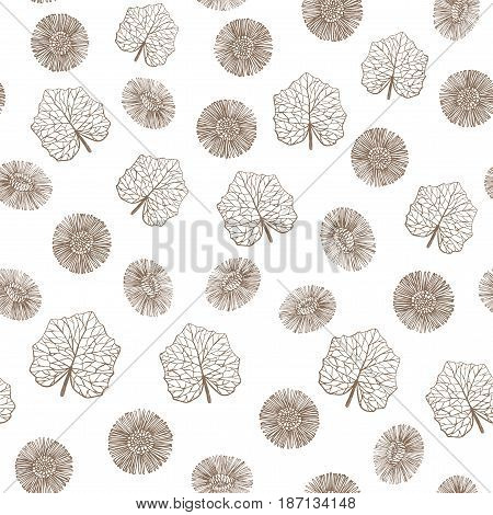 vector hand drawn colored seamless coltsfoot background