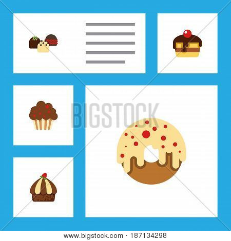 Flat Cake Set Of Cake, Muffin, Doughnut And Other Vector Objects. Also Includes Delicious, Muffin, Donuts Elements.