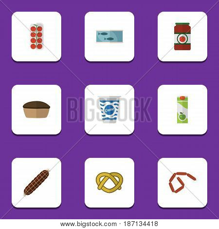 Flat Eating Set Of Tart, Tomato, Tin Tuna And Other Vector Objects. Also Includes Apple, Cookie, Juice Elements.