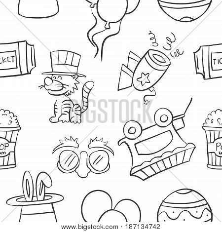 Collection stock of circus object doodles vector art
