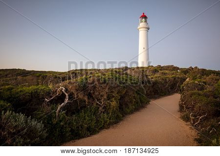 Split Point Lighthouse at dusk on a warm summer's evening in Aireys Inlet, Victoria, Australia