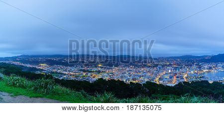 Panoramic beautiful scenery from Mount Victoria lookout at dusk in Wellington capital of New Zealand North Island of New Zealand