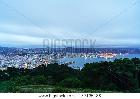 Beautiful scenery from Mount Victoria lookout at dusk in Wellington capital of New Zealand North Island of New Zealand
