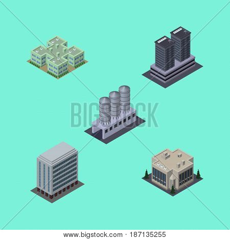 Isometric Building Set Of Office, Tower, Company And Other Vector Objects. Also Includes House, Company, Building Elements.