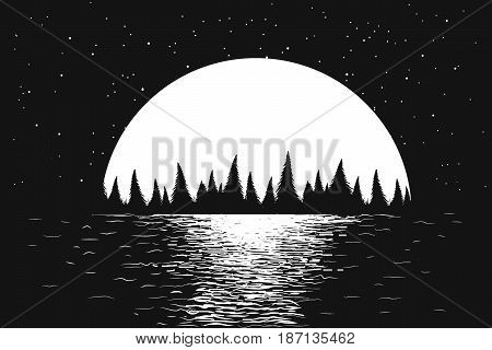 seascape with full moon at the night sea and silhouette of forest .Romantic vector illustration