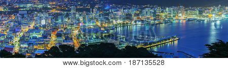 Panoramic beautiful scenery from Mount Victoria lookout at night in Wellington capital of New Zealand North Island of New Zealand