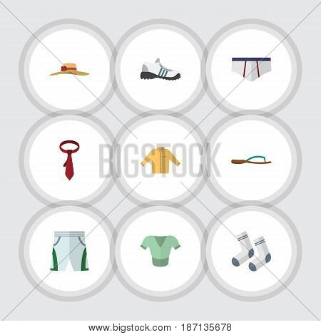 Flat Garment Set Of Trunks Cloth, Foot Textile, Sneakers And Other Vector Objects. Also Includes Clothes, Cloth, Man Elements.