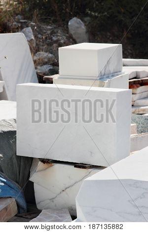 Big white marble blocks extracted near Carrara Tuscany region Italy.