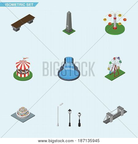 Isometric City Set Of Recreation, Garden Decor, Plants And Other Vector Objects. Also Includes Fountain, Attraction, City Elements.