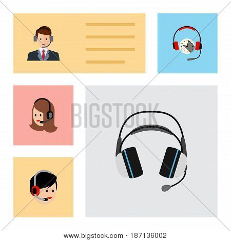 Flat Telemarketing Set Of Service, Operator, Hotline And Other Vector Objects. Also Includes Service, Human, Secretary Elements.