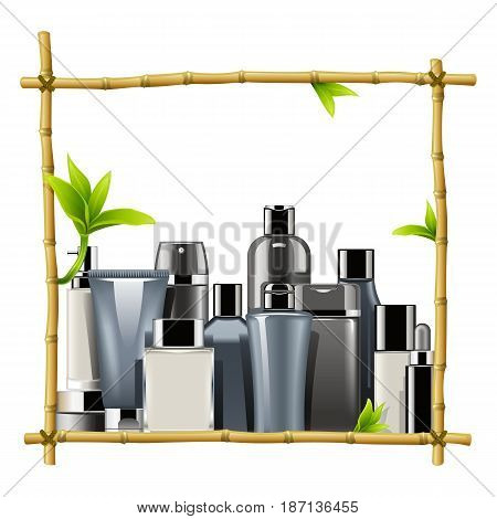 Vector Bamboo Frame with Male Cosmetics isolated on white background