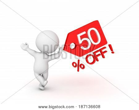 3D Character leaning on fifty percent sale off price tag which shows sales promotion. Image can be used in any price reduction promotion.