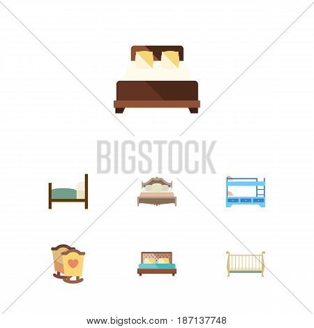 Flat Bedroom Set Of Bed, Mattress, Hostel And Other Vector Objects. Also Includes Bed, Child, Hostel Elements.