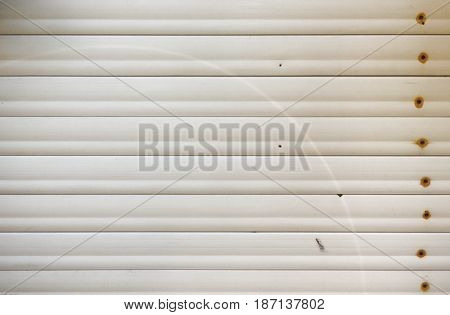 Aged white plastic panels background. Industrial texture.