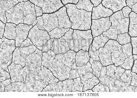 Cracked dry ground texture. Nuclear post-apocalyptic background, desert surface with place for text. Desaturated and filtered photo.