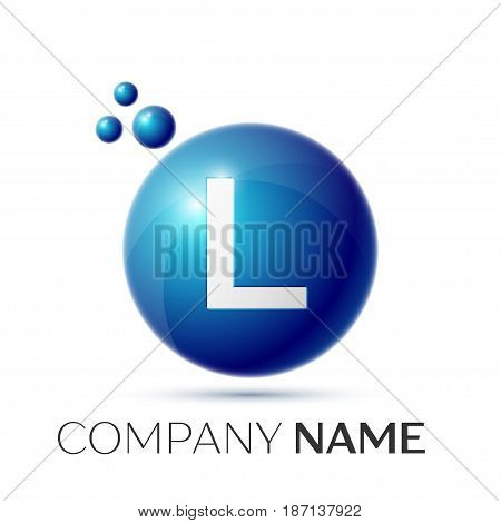 L, Letter splash logo. Blue dots and circle bubble letter design on grey background. Vector Illustration