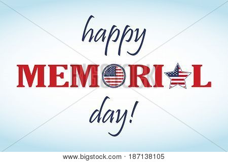 Happy Memorial Day card. National american holiday illustration with USA flag. Festive poster or banner with hand lettering