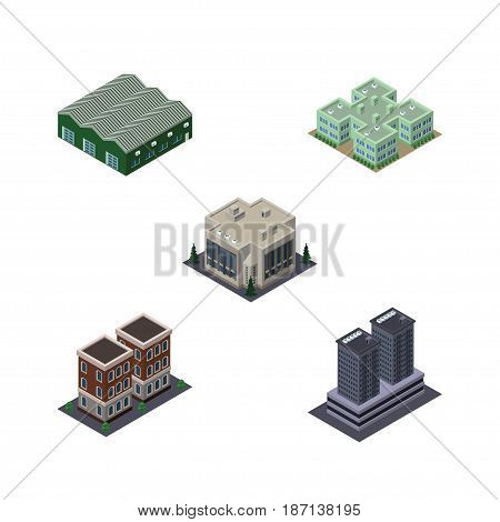 Isometric Building Set Of Clinic, Tower, Company And Other Vector Objects. Also Includes Company, Depot, Hospital Elements.