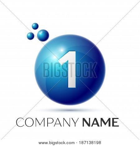 Number one splash logo. Blue dots and bubbles number design on grey background. Vector Illustration