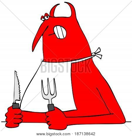 Illustration of a hungry red devil holding a knife and fork with a bib tied around his neck.