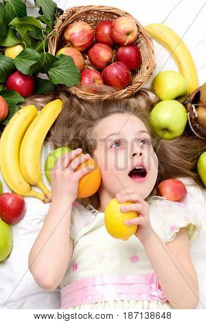 Dieting And Healthy Food, Vegetarian And Vitamin, Childhood And Happiness