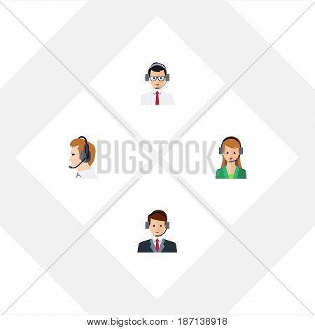 Flat Telemarketing Set Of Help, Telemarketing, Secretary And Other Vector Objects. Also Includes Telemarketing, Secretary, Help Elements.
