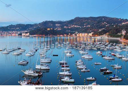 Many yachts in the harbor in the night in Lerici Liguria Italy.