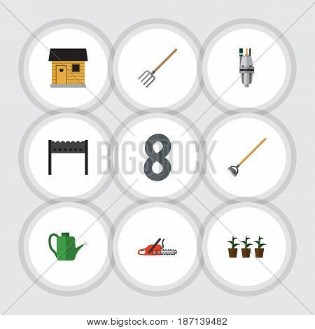 Flat  Set Of Bailer, Stabling, Barbecue And Other Vector Objects. Also Includes Pitchfork, Farmhouse, Plant Elements.