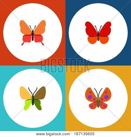 Flat Monarch Set Of Monarch, Danaus Plexippus, Moth And Other Vector Objects. Also Includes Butterfly, Monarch, Milkweed Elements.