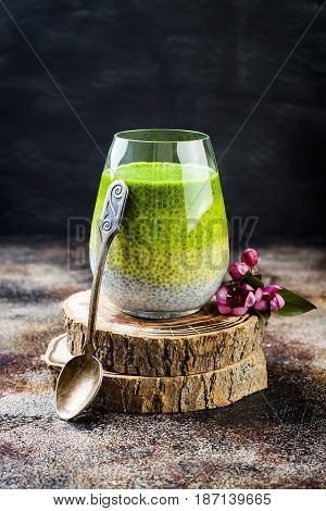 Detox ombre layered matcha green tea chia seed pudding. Vegan dessert with coconut milk. Healthy vegetarian breakfast dieting weight loss food