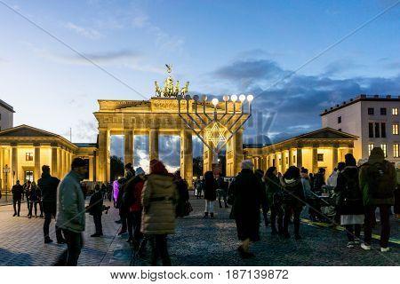 BERLIN, GERMANY- December 24, 2016: Brandenburg Gate (Brandenburger Tor) famous landmark in Berlin, Germany,rebuilt in the late 18th century as a neoclassical triumphal arch in Berlin