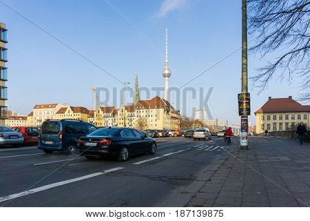BERLIN, GERMANY- December 24, 2016: Tv tower or Fersehturm on December 24, 2016. BERLIN, Germany.