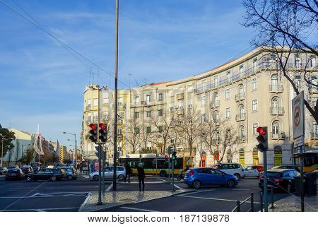 Lisbon, Portugal.- January 11, 2017 : Traditional old buildings on January 11, 2017. Beautiful street view of historic architectural in Lisbon, Portugal, Europe