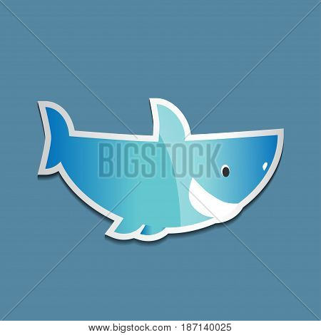 Bright colorful sticker with a shark on a blue background. Vector illustration of sea animals.
