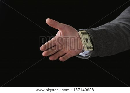 Cropped View Of Businessman With Dollar Banknotes In Sleeve Isolated On Black